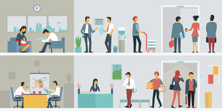Illustration pour Flat design of bussiness people or office workers in interior building, various characters, actions and activities. - image libre de droit