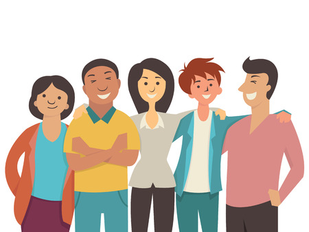 Illustration pour Vector character flat design of diverse happy people, teenager, muti-ethnic, smiling and joyful together. - image libre de droit