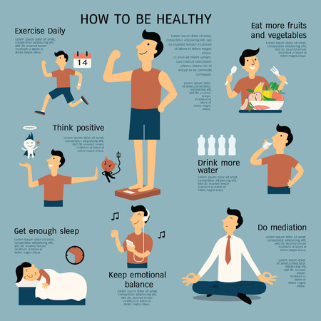 Photo pour Infographics about how to be healthy, flat design, cartoon character in simple dedign. - image libre de droit