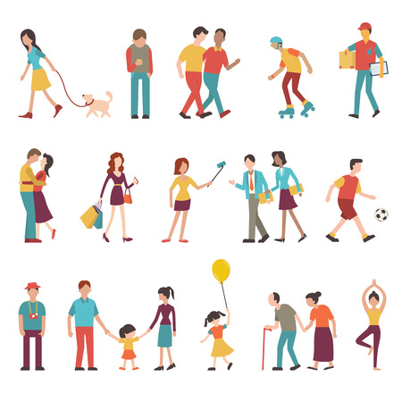 Ilustración de People in various lifestyles businesspeople woman walking to the dog teenager hipster friends sportman woman doing yoga homosexual couple lovers family. Character set with flat design style. - Imagen libre de derechos