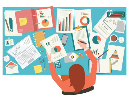 Ilustración de Very busy businesswoman working with paperwork on her desk at office. Flat design. Top view. - Imagen libre de derechos