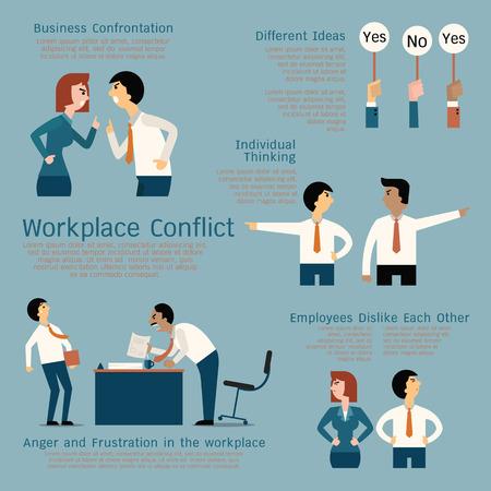 Ilustración de Set of business conflict concept at the workplace, businessman, businesswoman, colleague, team. Flat design. - Imagen libre de derechos