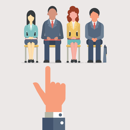 Illustration pour Hand pointing to business people who sitting on chair waiting for job interview, recruitment concept. Flat design. - image libre de droit