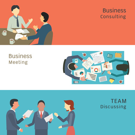 Ilustración de Illustration of business conversation concept, partner consulting, meeting, talking and discussing. Simple and flat design. - Imagen libre de derechos