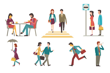 Character set of businesspeople, man and woman in outdoor acitivity. Sitting in coffee shop, walking across zebra crossing, waiting at bus stop, go to work, running, smoking, chatting. Flat design.