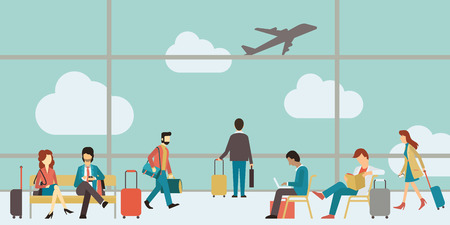 Ilustración de Business people sitting and walking in airport terminal, business travel concept. Flat design. - Imagen libre de derechos