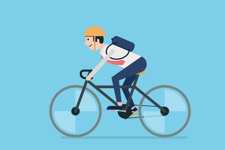 Illustration pour Businessman riding bicycle to work. Flat design. - image libre de droit