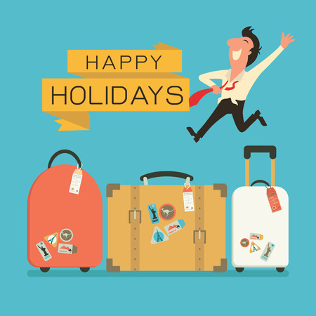 Illustration pour Jumping businessman in happy feeling with luggage for holiday traveling. Flat design. - image libre de droit