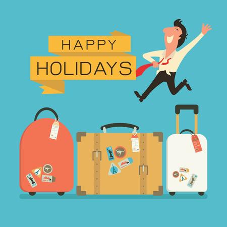 Foto de Jumping businessman in happy feeling with luggage for holiday traveling. Flat design. - Imagen libre de derechos