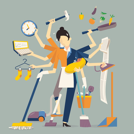 Illustrazione per Vector illustration in super mom concept, many hands working with very busy business and housework part, feeding baby, cleaning house, cooking, doing washing, working with laptop. Flat design. - Immagini Royalty Free