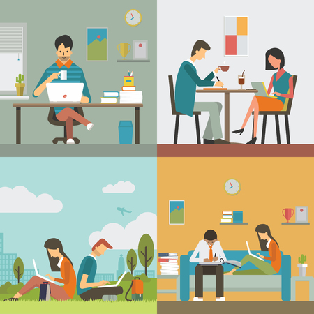 Ilustración de Businesspeople, man and woman, working in various workplace, in office, restaurant or coffee shop, public park, and work at home. Flat design, diverse character. - Imagen libre de derechos
