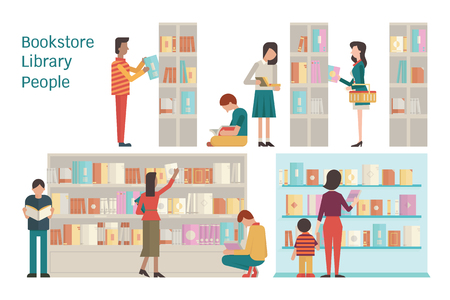 Illustration pour Vector illustration of bookstore, library, bookshelf, various character of people, diverse and multi-ethnic, adult and teenager,  and book. Flat design. Each layer separated, easy to use. - image libre de droit