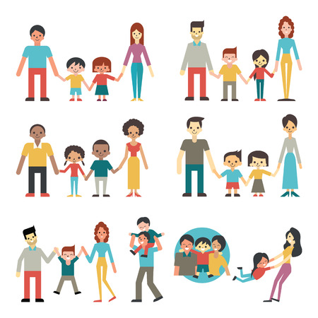 Illustration pour Illustration character of people in happy family concept, father, mother, son and daughter. Diverse, multi-ethnic, american, african, hispanic, asian, caucasian. Flat design. - image libre de droit