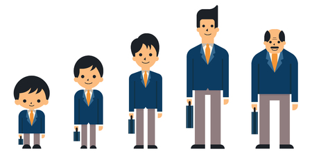Ilustración de Business people in generation, from child, boy, teen, young adult, adult, and senior or old age. Suit man, smiling, full-length, flat design. - Imagen libre de derechos