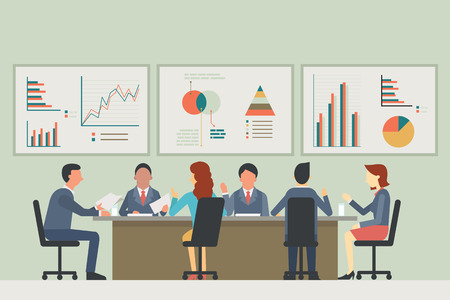 Ilustración de Businesspeople, man and woman, talking, discussing in meeting room. With chart and graph statistics background. Diverse, muilti-ethnic, flat design. - Imagen libre de derechos