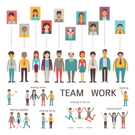 Ilustración de Various character of businesspeople in concept of teamwork, partnership, togetherness, company. Multi-ethnic, diverse, male and female. Flat design in simple style. - Imagen libre de derechos