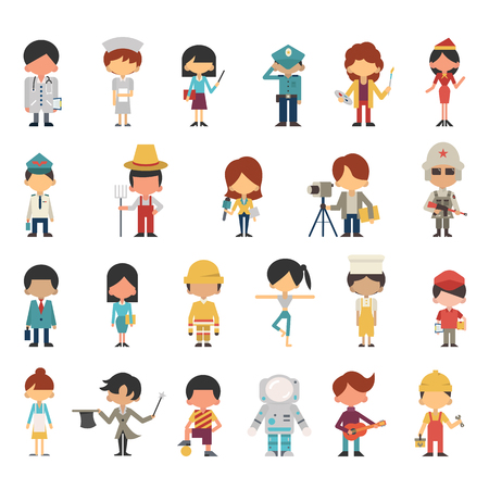 Ilustración de Illustration characters of kids or children in various occupations concept. Flat design, simple design. Diversity with multi-ethnic. - Imagen libre de derechos