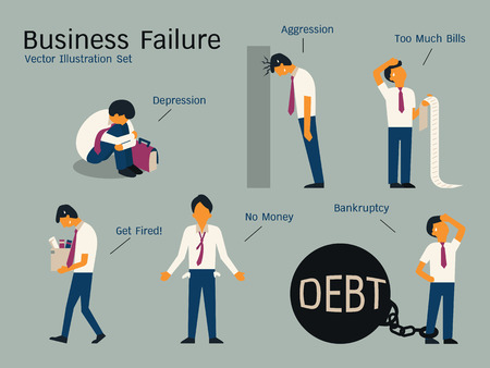 Illustration pour Character of businessman in failure concept, sitting alone in depression, get fired, no money, bankruptcy, banging head against wall, holding bills. Simple character with flat design. - image libre de droit