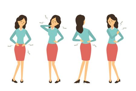 Illustrazione per Character set of businesswoman at workplace get pain in various problem, back pain, abdominal problem, neck pain, and hurt at shoulder from working. - Immagini Royalty Free