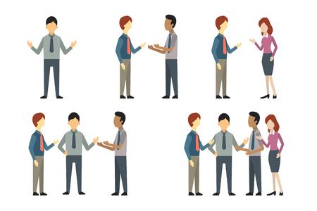 Ilustración de Full length of business man, woman, and people have conversation or talking, greeting, meeting. Vector illustration character set, flat design. - Imagen libre de derechos