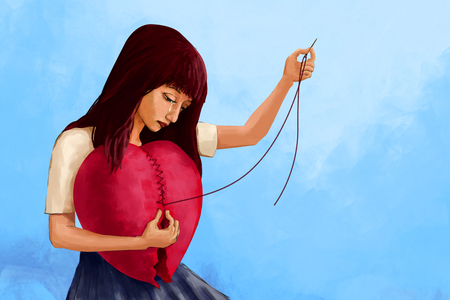 Foto de Illustration digital art painting, crying woman sewing broken heart shape, presenting to broken hearted woman try to mend her feeling. Blue background. - Imagen libre de derechos