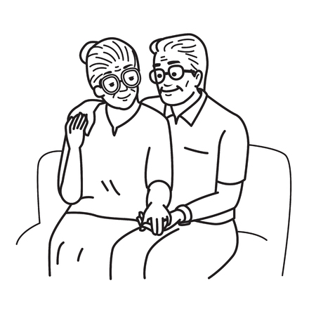 Illustration for Smiling and happy romantic senior couple lovers, holding hands, sitting together at sofa, sharing love last long moment. Vector illustration, cartoon and doodle character, outline sketching, drawing style. - Royalty Free Image