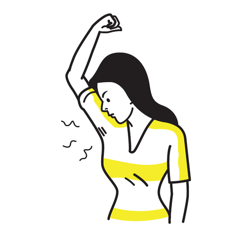 Illustrazione per Vector illustration character of woman sniffing and smelling her bad smell wet armpit. Bad feeling facial emotion expression. Outline hand draw sketching simple style. - Immagini Royalty Free