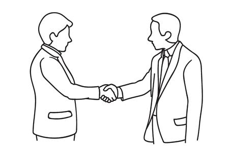 Illustration pour Two businessmen making handshake. Shaking hands, in concept of agreement, corporation, or partnership. Hand drawn sketch design. - image libre de droit