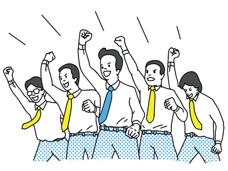 Illustration pour Vector illustration character of businessman in teamwork, clenched fist riasing in the air with cheering happiness expression. Success, winning, happy, celebration, motivation concept. Outline, linear, thin line art design. - image libre de droit