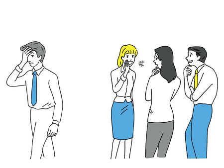Illustration pour Group of businessman and woman, office workers, bullying an unhappy man at workplace. Outline, linear, thin line art, doodle, hand drawn sketch design. - image libre de droit
