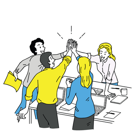 Illustration pour Group of businesspeople, man and woman, giving high five in business concept of corporate, success, congratulation. Outline, linear, thin line art, hand drawn sketch design, simple color style.  - image libre de droit