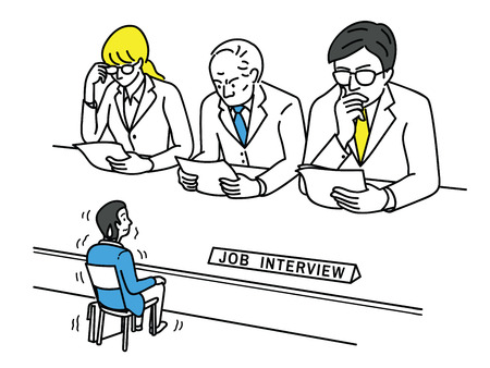 Illustration pour Funny vector illustration of young man, an applicant, feel nervous and himself very small size during job interview, business concept of stressed, worried; nervous in looking job. - image libre de droit