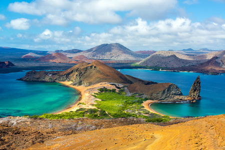 Photo for View of two beaches on Bartolome Island in the Galapagos Islands in Ecuador - Royalty Free Image