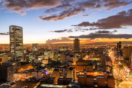 Photo pour View of downtown Bogota, Colombia at dusk - image libre de droit
