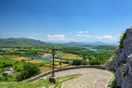 Photo for Fields near Shkoder, Albania seen from Rozafa Castle - Royalty Free Image