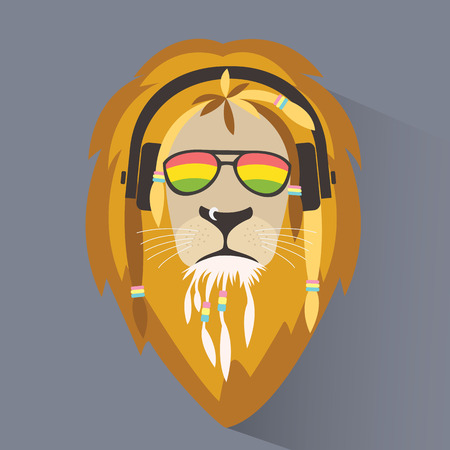 Illustration for Lion reggae. Lion rastafarian. - Royalty Free Image