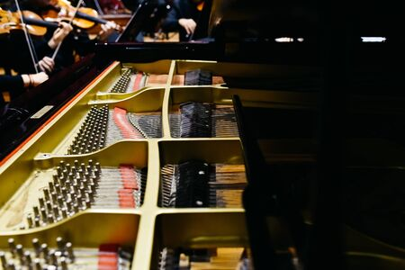Photo for Detail of the interior of a piano with the soundboard, strings and pins. - Royalty Free Image