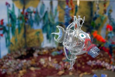 Foto de Recycling plastic bottles - Made by kids, seen at a street festival in Barcelona - Imagen libre de derechos
