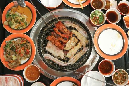 Foto de barbecued pork or grilled pork in the roaster - Imagen libre de derechos