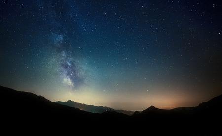 Photo for night sky stars with milky way on mountain background - Royalty Free Image