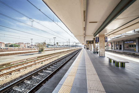 Photo for desert train station platform in the morning - Royalty Free Image