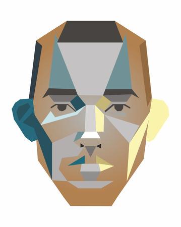 Ilustración de Vector face of a man of geometric shapes - Imagen libre de derechos