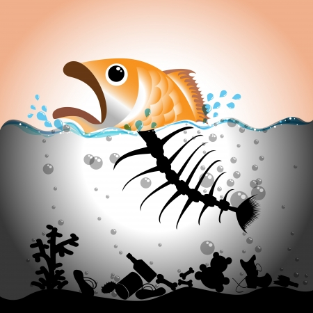 Illustration of fish and fish bone in  in polluted water, Water pollution concept