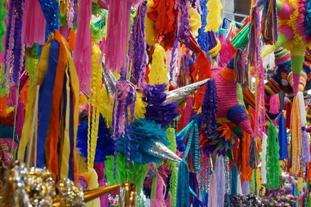 Photo for Colorful pinatas for celebrations in Mexico - Royalty Free Image