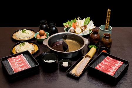 Photo for Sukiyaki Fresh Beef pork slices, Vegetable, Dinner Set - Royalty Free Image