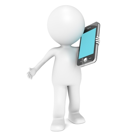 3D little human character Talking in a Mobile Phone