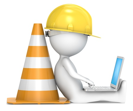 Foto für 3D little human character The Builder sitting with a Laptop  Side view  People series  - Lizenzfreies Bild