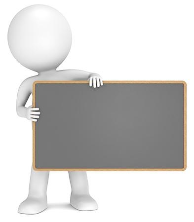 Foto de 3D little human character The Messenger holding an empty Black Board. People series. - Imagen libre de derechos