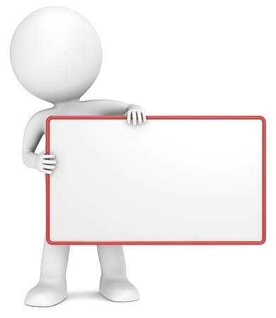 Photo pour 3D little human character The Messenger holding an empty Board. Copy Space. People series. - image libre de droit