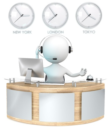 Foto de Reception  Classic reception with 3 Clocks  Receptionist talking on headset  - Imagen libre de derechos